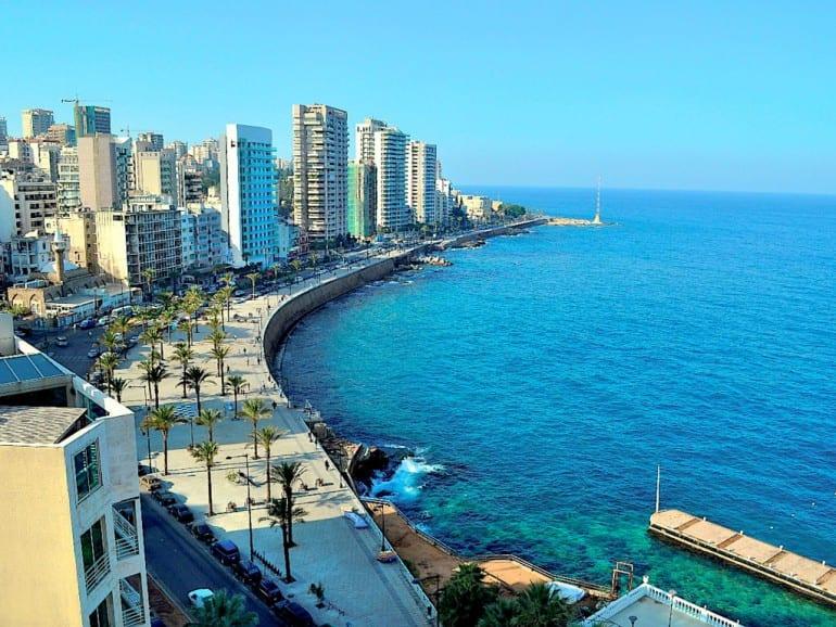 beirut libanon skyline sea promenade view