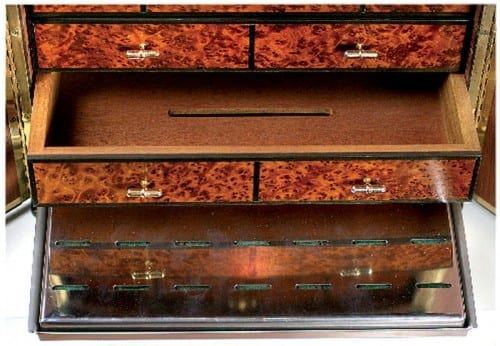 mini cabinet humidor open small drawers pulled out