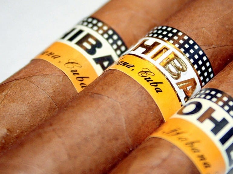cohiba banderoles metallic gold typo black white pattern since 2003