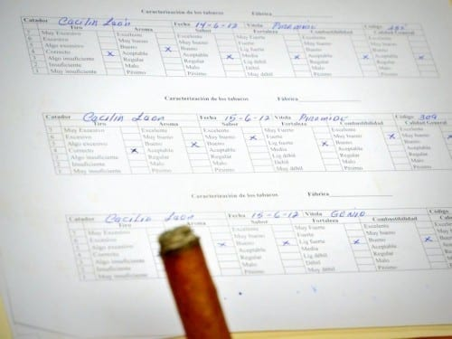 catadores partagas tasting notes sheet