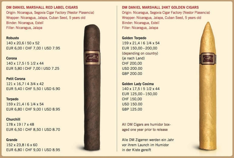 daniel marshall portfolio 2013 red label golden cigars