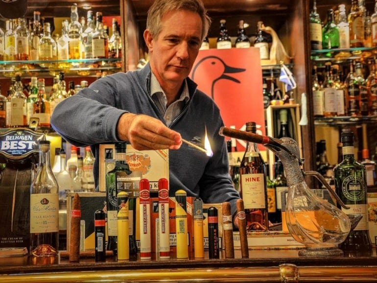 malcolm duck kilspindie ducks bar scotland lighting cigar