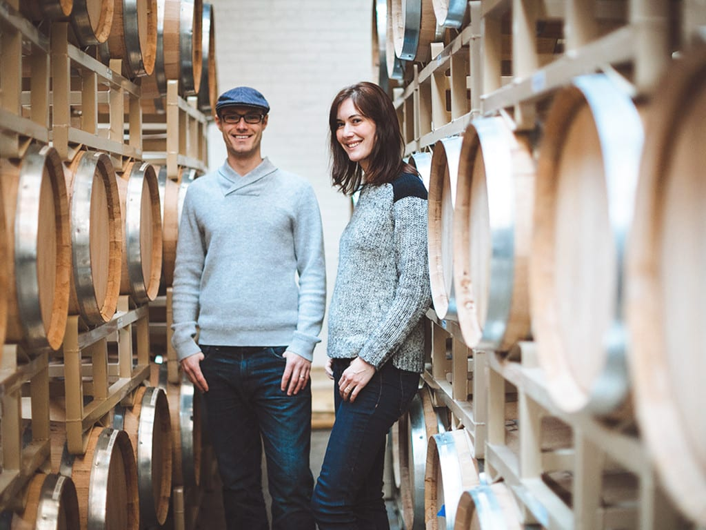 koval couple whiskey barrels cellar