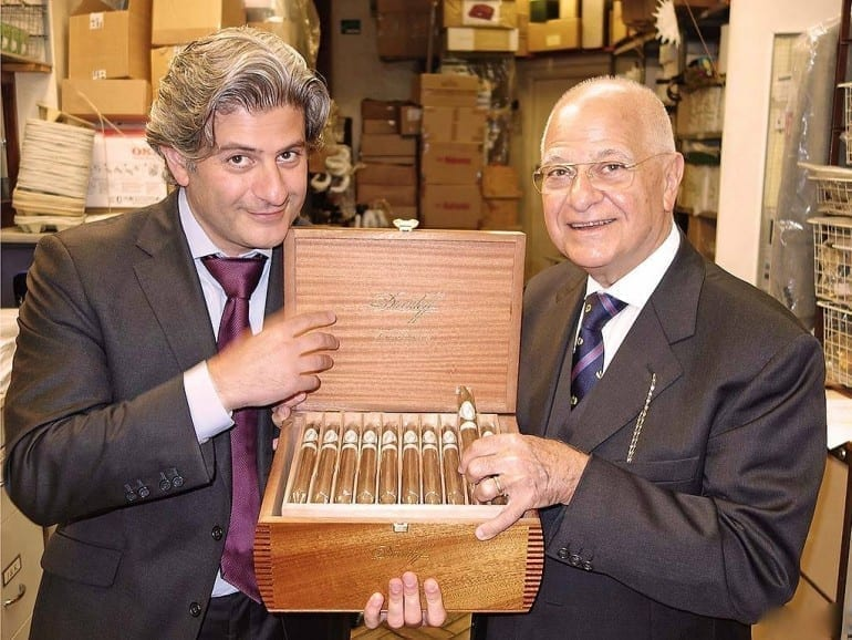 eddie father edward sahakian holding open box davidoff cigars