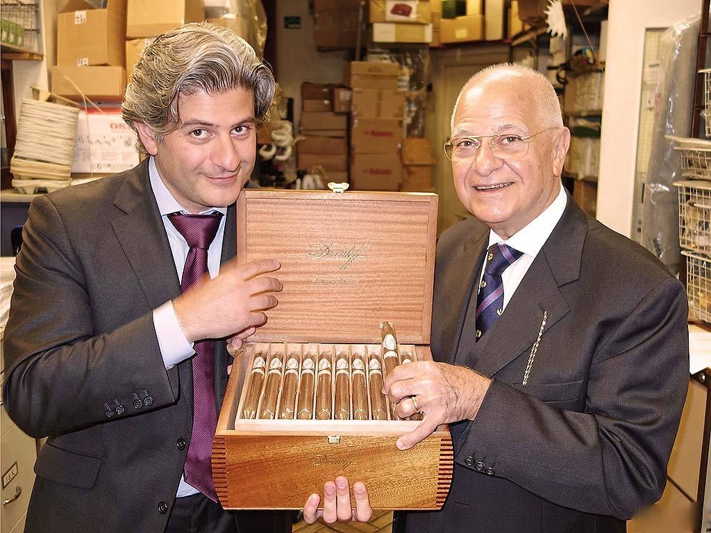 eddie father edward sahakian holding open box davidoff cigars