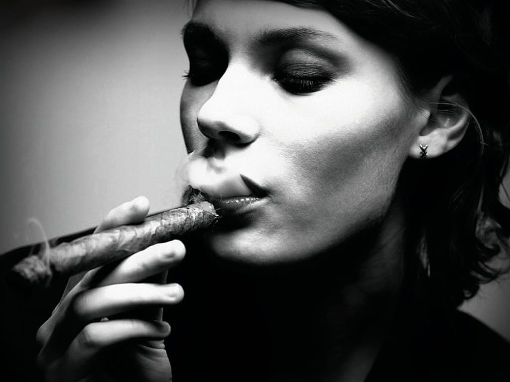 woman smoking cigar bw stock photo l