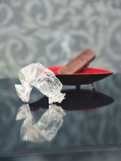 cellophane wrapper empty cigar ashtray