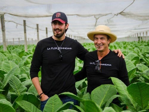 La Flor Dominicana's Tony & Litto Gomez in a tobacco field