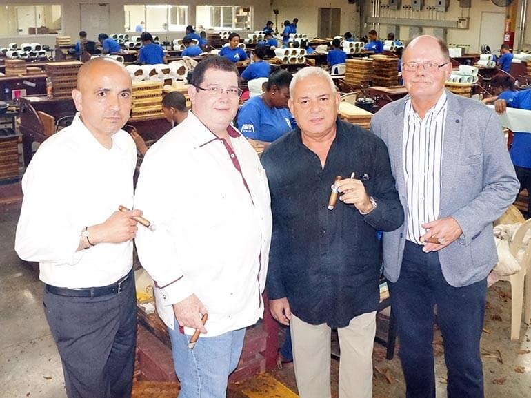 Rene Castañeda, Matias Maragoto, Manuel Garcia and Michael Blumendeller at the ABAM cigar factory