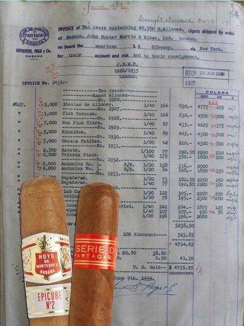 Partagas invoice June 1939