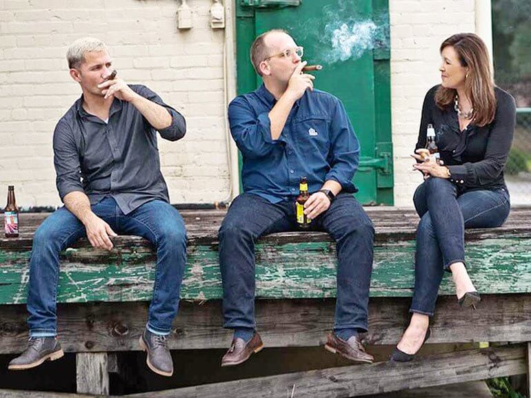 Jeff Zeiders, Chris Yokley, Shanda Lee at CigarClub.Com Headquarters